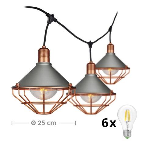 LED Zahradní závěsné svítidlo PREMIUM STRING 3m 6xE27/10W/230V IP65 šedá/bronz