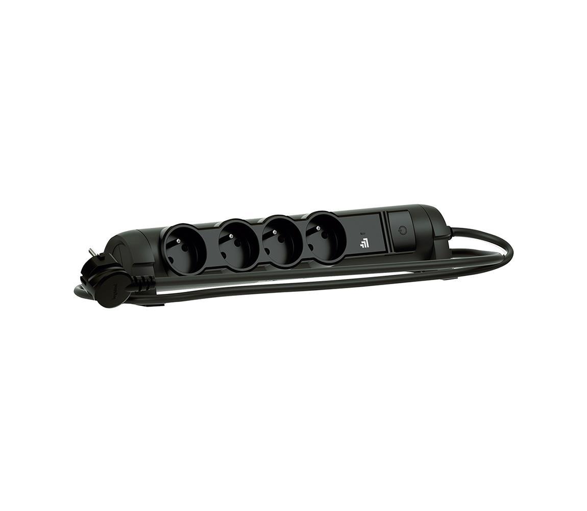 Legrand Prodlužovací kabel 1,5m 4 zásuvky černý