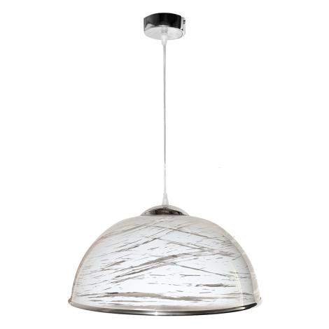 Lustr na lanku AKRYL - chrom KS 1xE27/60W bílá abstrakt