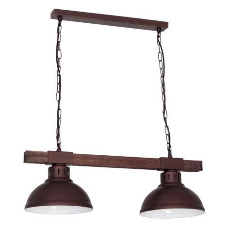 Lustr na řetězu HAKON 2xE27/60W/230V tmavá