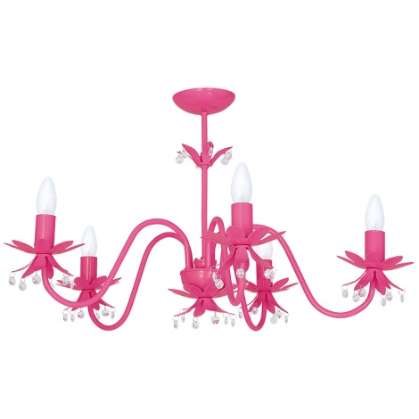 Lustr NENUFAR 5xE14/60W/230V tmavě růžová