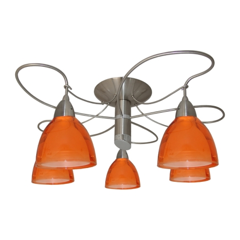 Lustr přisazený CARRAT matný chrom/chrom/oranž