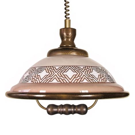 Lustr stahovací AKRYL DR 54 1xE27/60W ornament/dub tm.