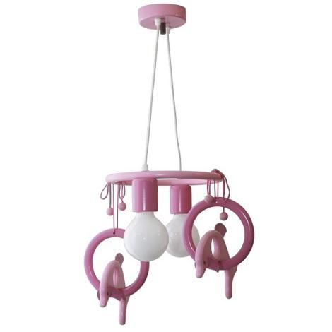 Lustr závěsný DELFÍN fialová/růžová