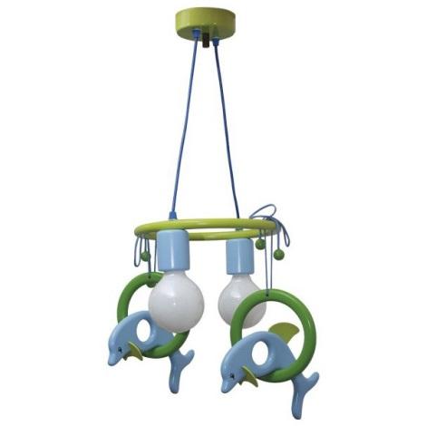 Lustr závěsný DELFÍN modrá/zelená