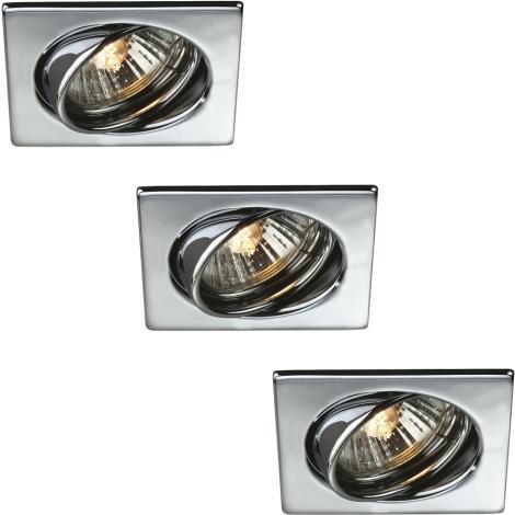 Massive 59323/11/10 - SADA 3x Koupelnové podhledové svítidlo QUARTZ 3xGU10/50W