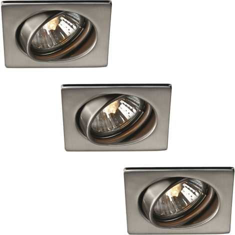 Massive 59783/17/10 - SADA 3x Koupelnové podhledové světlo TONGA GU10/50W nerez