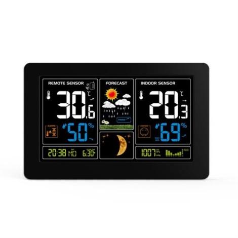 Meteostanice s LCD displejem USB nabíjení černá