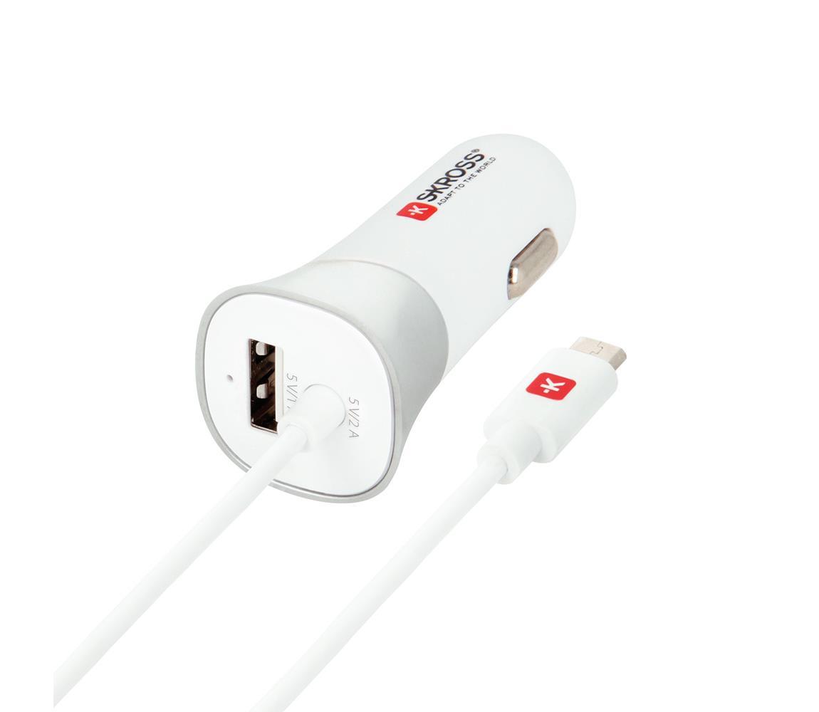 Solight Nabíječka do auta s integrovaným kabelem USB/3000mA/12-24V/5V SL0190