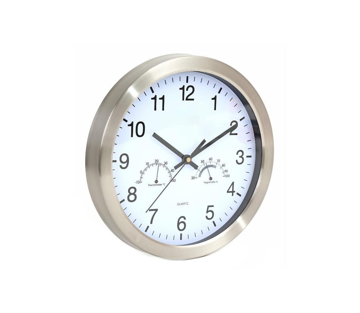 Platinet Nástěnné hodiny s teploměrem a vlhkoměrem 1xAA bílá