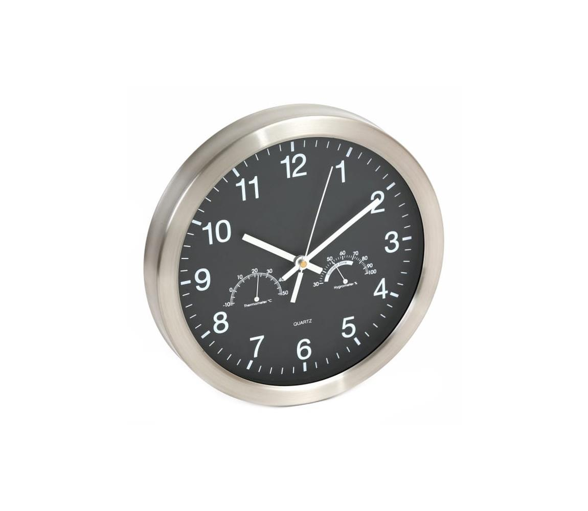 Platinet Nástěnné hodiny s teploměrem a vlhkoměrem 1xAA černá