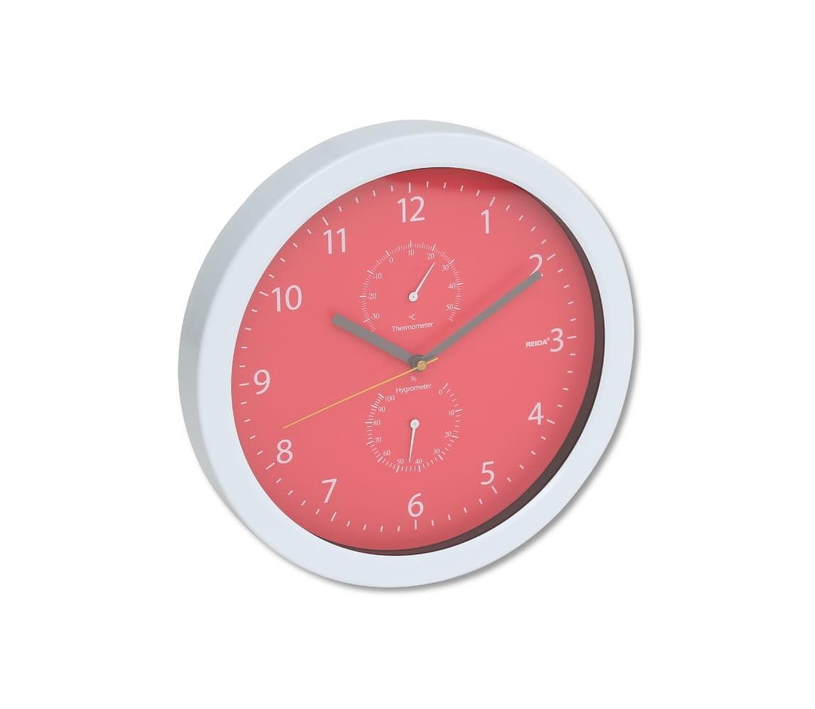 Platinet Nástěnné hodiny s teploměrem a vlhkoměrem 1xAA červená