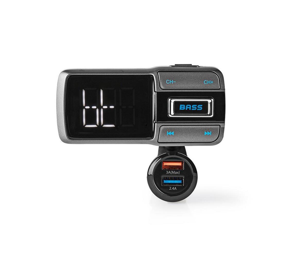 Nedis Nedis CATR101BK − FM Vysílač do auta Bluetooth/3A/2,4A ovládání hlasem NE0025