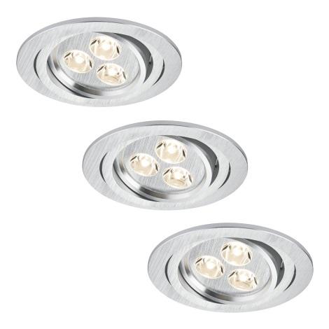 Paulmann 92530 - SADA 3xLED/3W Koupelnové podhledové svítidlo PREMIUM LINE 230V