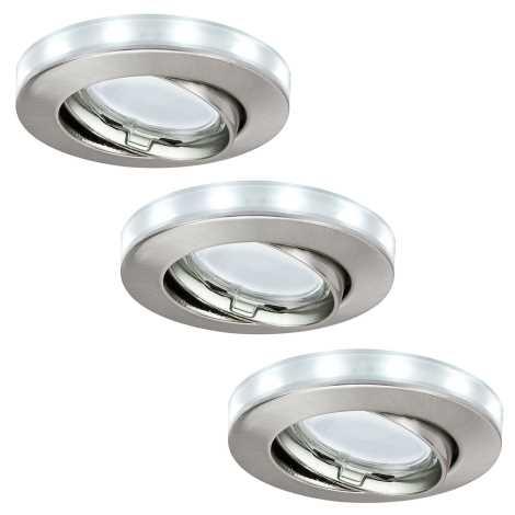 Paulmann 98886 - SADA 3xLED-GU10/11W Koupelnové podhledové svítidlo STAR 230V+1,5W/12V