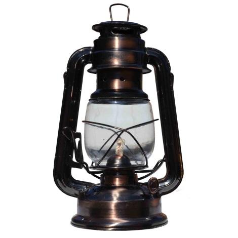 Petrolejová lampa 24 cm měď