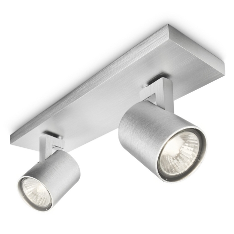 Philips 53092/48/16 - Bodové svítidlo RUNNER stříbrné 2xGU10/35W/230V