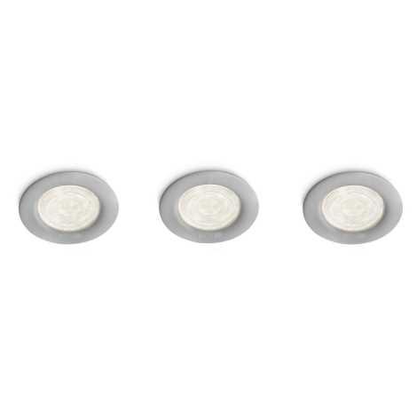 Philips 59100/87/16 - SADA 3x LED bodové zápustné svítidlo MYLIVING SCEPTRUM 3xLED/4W/230V šedá