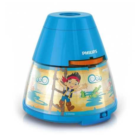Philips 71769/05/16 - Dětská stolní lampa a projektor DISNEY JAKE PIRATE 1xLED/0,1W + 3xLED/0,3W/4,5V