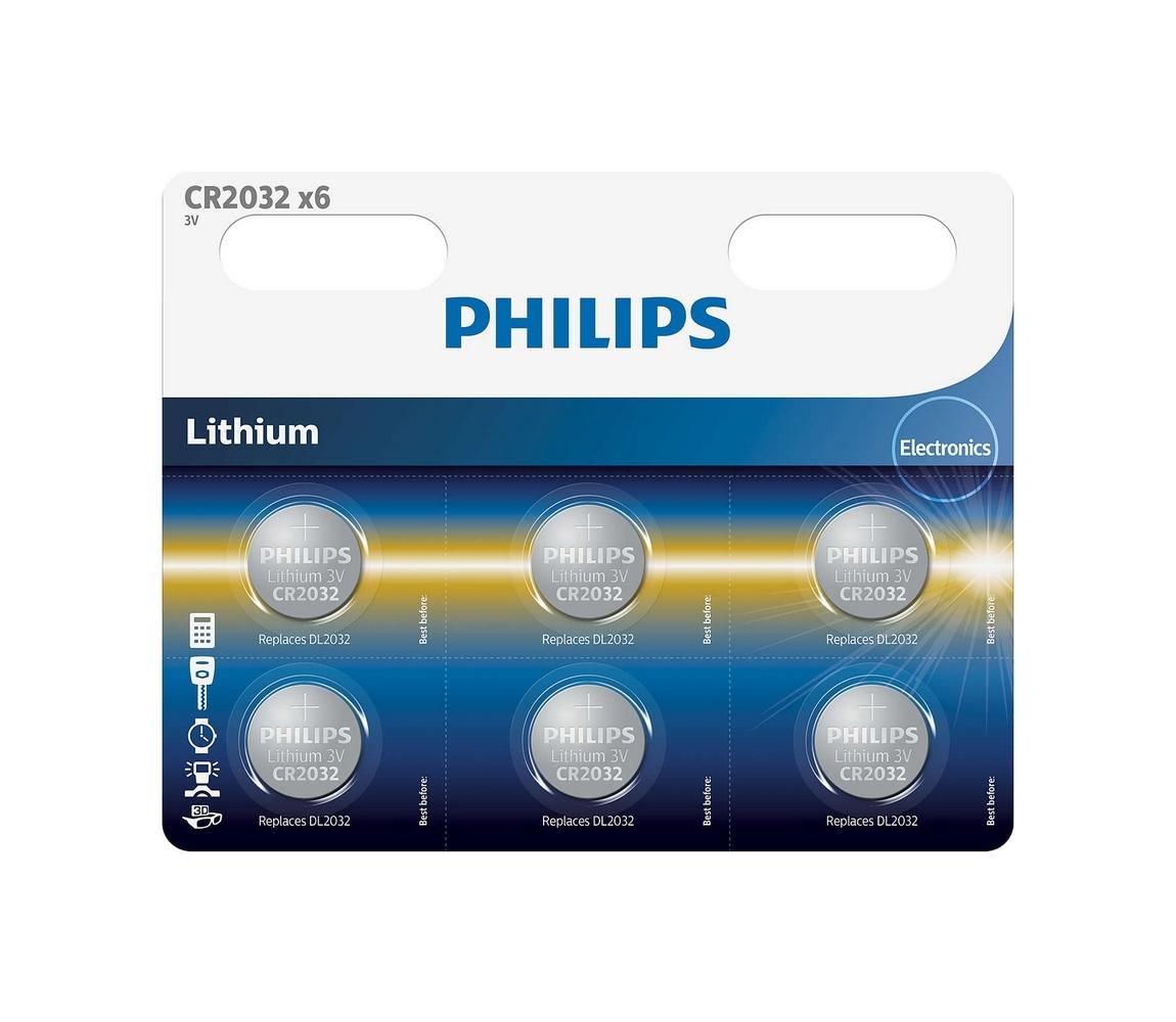 Philips Philips CR2032P6/01B - 6 ks Lithiová baterie knoflíková CR2032 MINICELLS 3V P2227