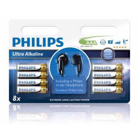 Philips LR03E8BHP - 8x Alkalická baterie AAA 1,5V + sluchátka