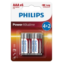 Philips LR03P6BP/10 - 6 ks Alkalická baterie AAA POWER ALKALINE 1,5V