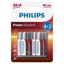 Philips LR6P6BP/10 - 6 ks Alkalická baterie AA POWER ALKALINE 1,5V