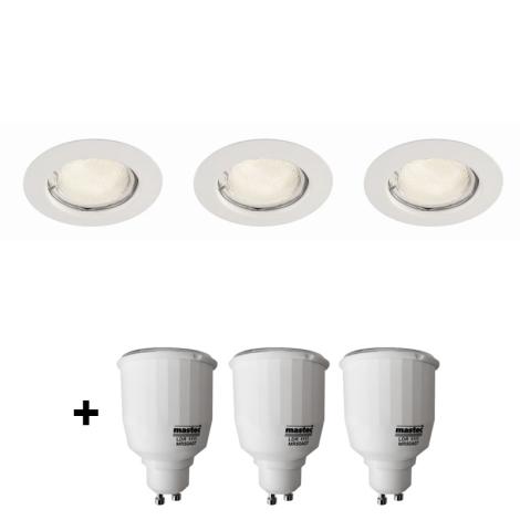 Philips Massive 59383/31/19 - SADA 3x Bodové zápustné svítidlo + 3x úsporná žárovka 7W ZDARMA