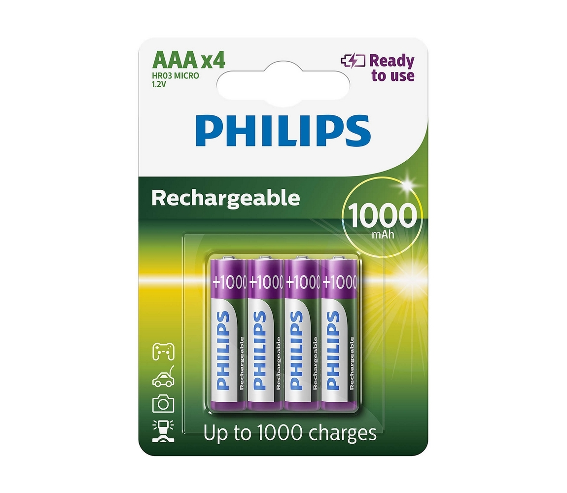 Philips Philips R03B4RTU10/10 - 4 ks Nabíjecí baterie AAA MULTILIFE NiMH/1,2V/1000 mAh P2235