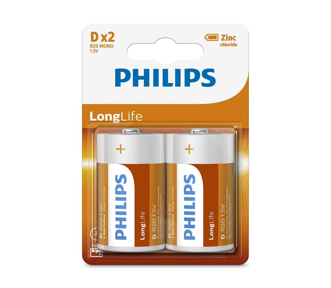 Baterie Philips LongLife D 2ks