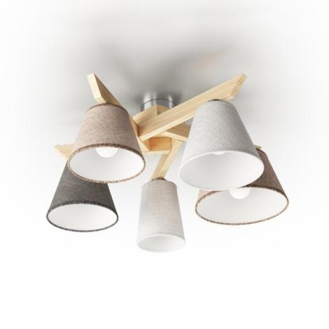 Přisazený lustr YOKE 5xE14/40W/230V přírodní dřevo
