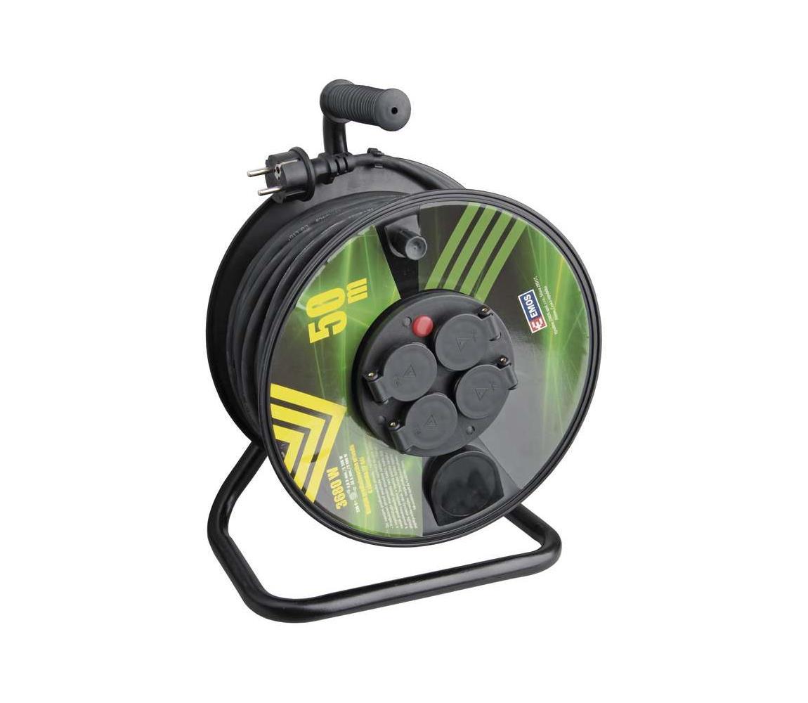 Prodlužovací kabel na bubnu 50m 4 zásuvky černý