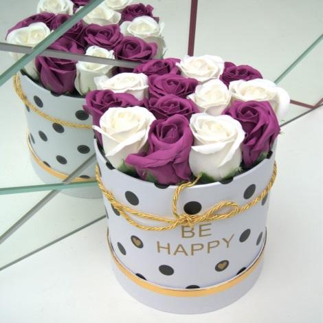 Růže z pěnového mýdla BE HAPPY - velikost M (13 kusů)