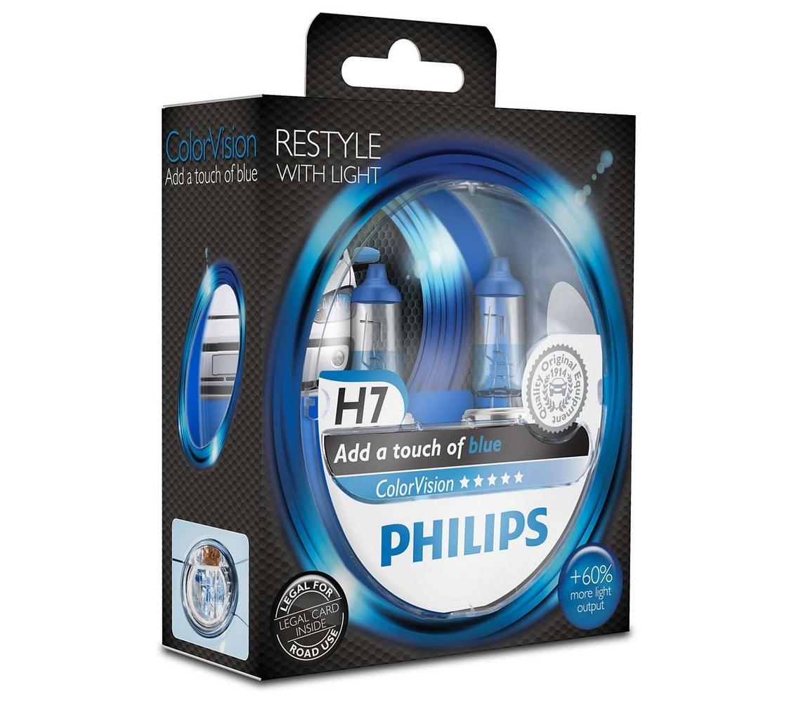 Philips SADA 2x Autožárovka Philips COLOR VISION 12972CVPBS2 H7 PX26d /55W/12V
