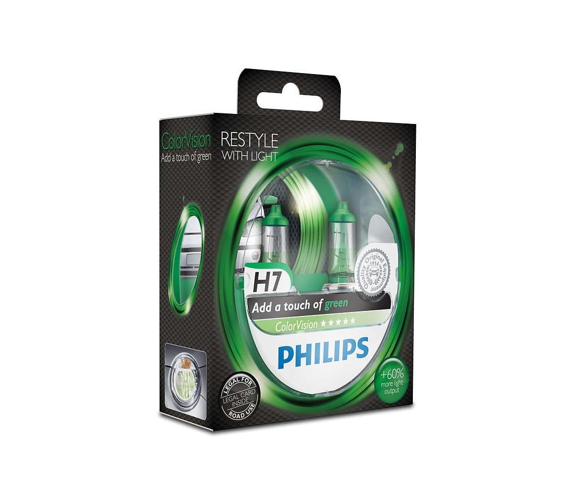 Philips SADA 2x Autožárovka Philips COLOR VISION 12972CVPGS2 H7 PX26d /55W/12V