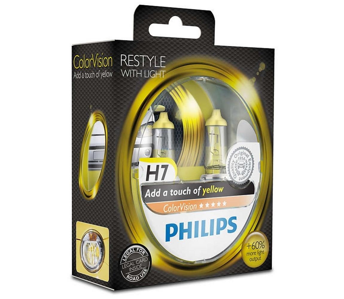 Philips SADA 2x Autožárovka Philips COLOR VISION 12972CVPYS2 H7 PX26d /55W/12V