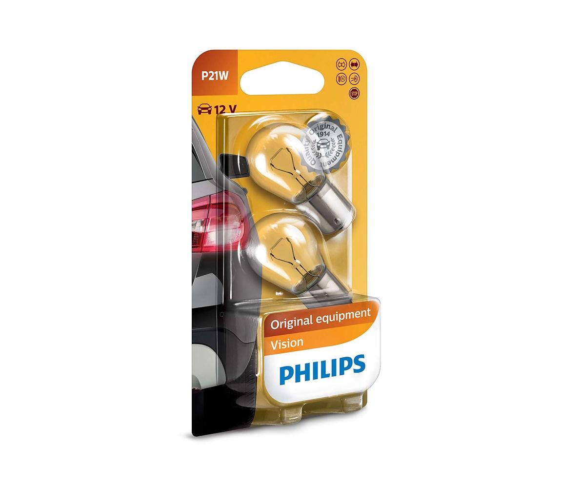 Philips SADA 2x Autožárovka Philips VISION 12498B2 P21W BA15s/21W/12V P2280