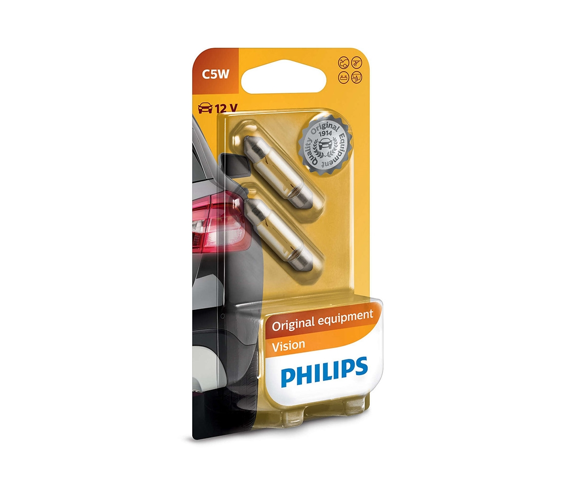 Philips SADA 2x Autožárovka Philips VISION 12844B2 C5W SW8,5/5W/12V P2282