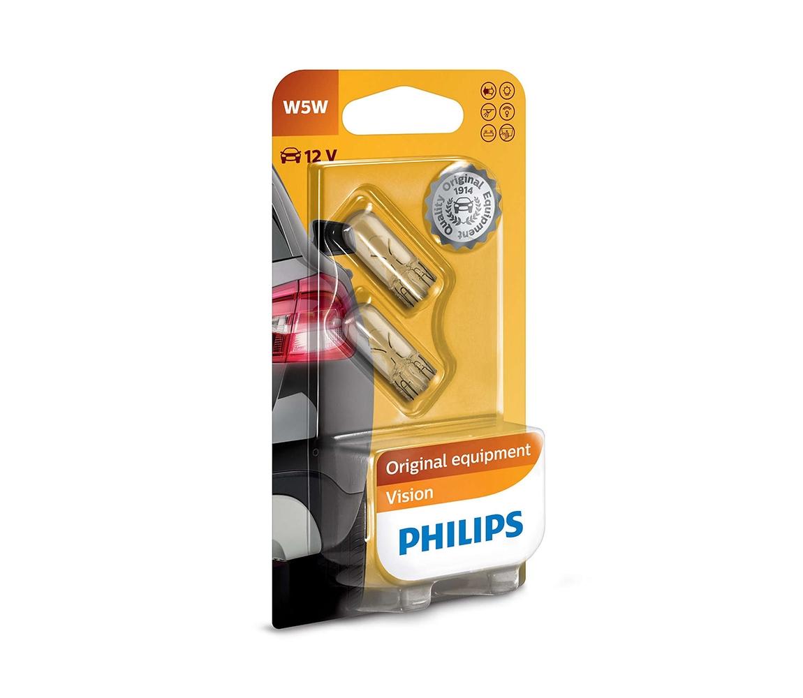 Philips SADA 2x Autožárovka Philips VISION 12961B2 W5W W2,1x9,5d/5W/12V