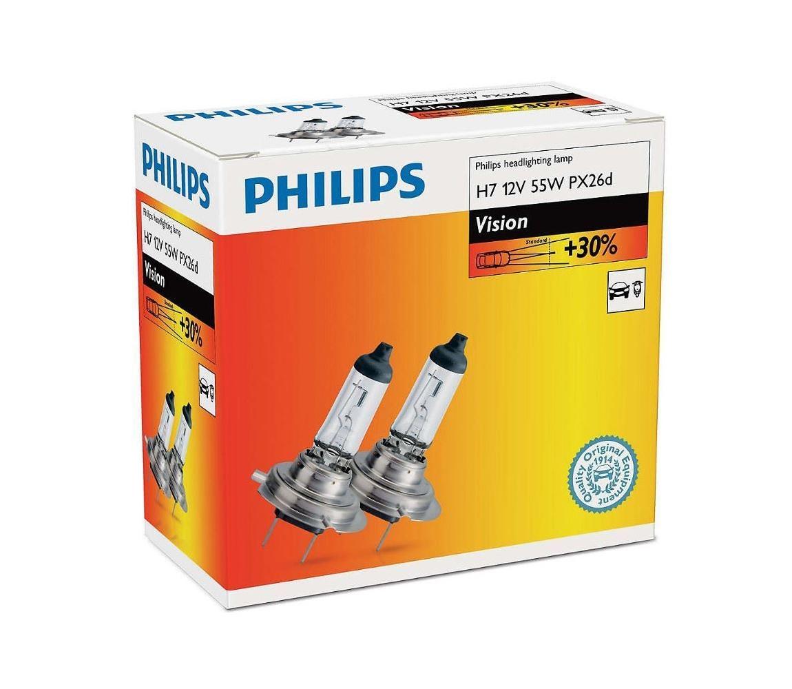 Philips SADA 2x Autožárovka Philips VISION 12972PRC2 H7 PX26d/55W/12V