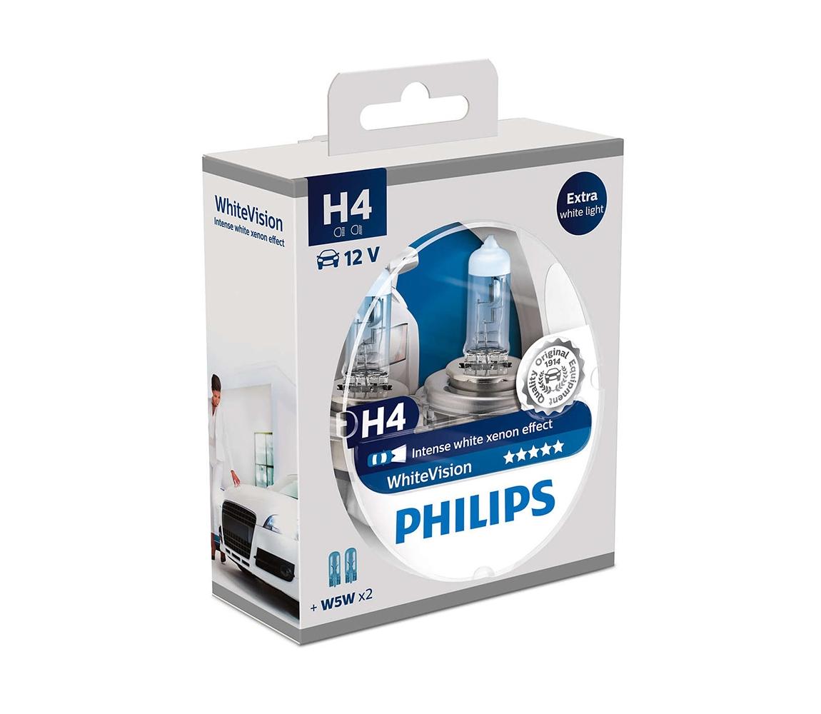 Philips SADA 2x Autožárovka Philips WHITEVISION 12342WHVSM H4 PX26d/60W/55W/12V
