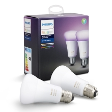 SADA 2x LED RGB Stmívatelná žárovka Philips HUE WHITE AND COLOR AMBIANCE E27/10W/230V