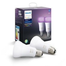 SADA 2x LED Stmívatelná žárovka Philips HUE WHITE AND COLOR AMBIANCE E27/9W/230V
