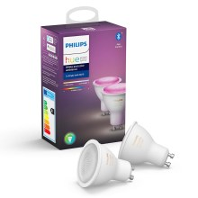 SADA 2x LED Stmívatelná žárovka Philips HUE WHITE AND COLOR AMBIANCE GU10/5,7W/230V