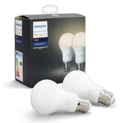 SADA 2x LED Stmívatelná žárovka Philips HUE WHITE E27/9W/230V
