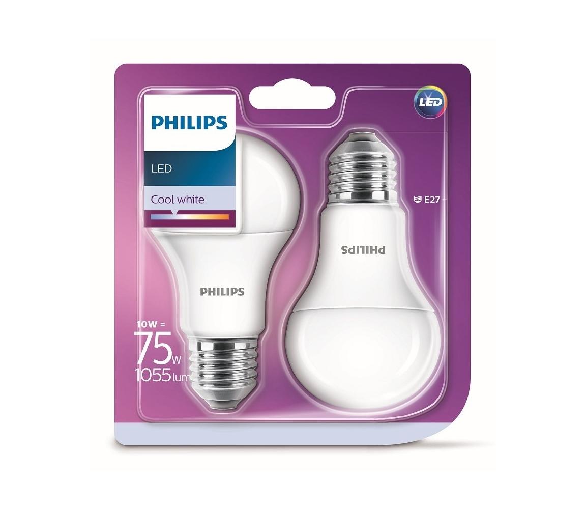 Philips SADA 2x LED Žárovka Philips A60 E27/10W/230V