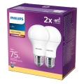 SADA 2x LED Žárovka Philips A60 E27/11W/230V 2700K
