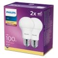 SADA 2x LED Žárovka Philips A60 E27/13W/230V 2700K