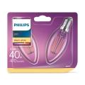 SADA 2x LED Žárovka Philips E14/4,3W/230V 2700K