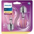 SADA 2x LED Žárovka Philips E27/4,3W/230V 2700K
